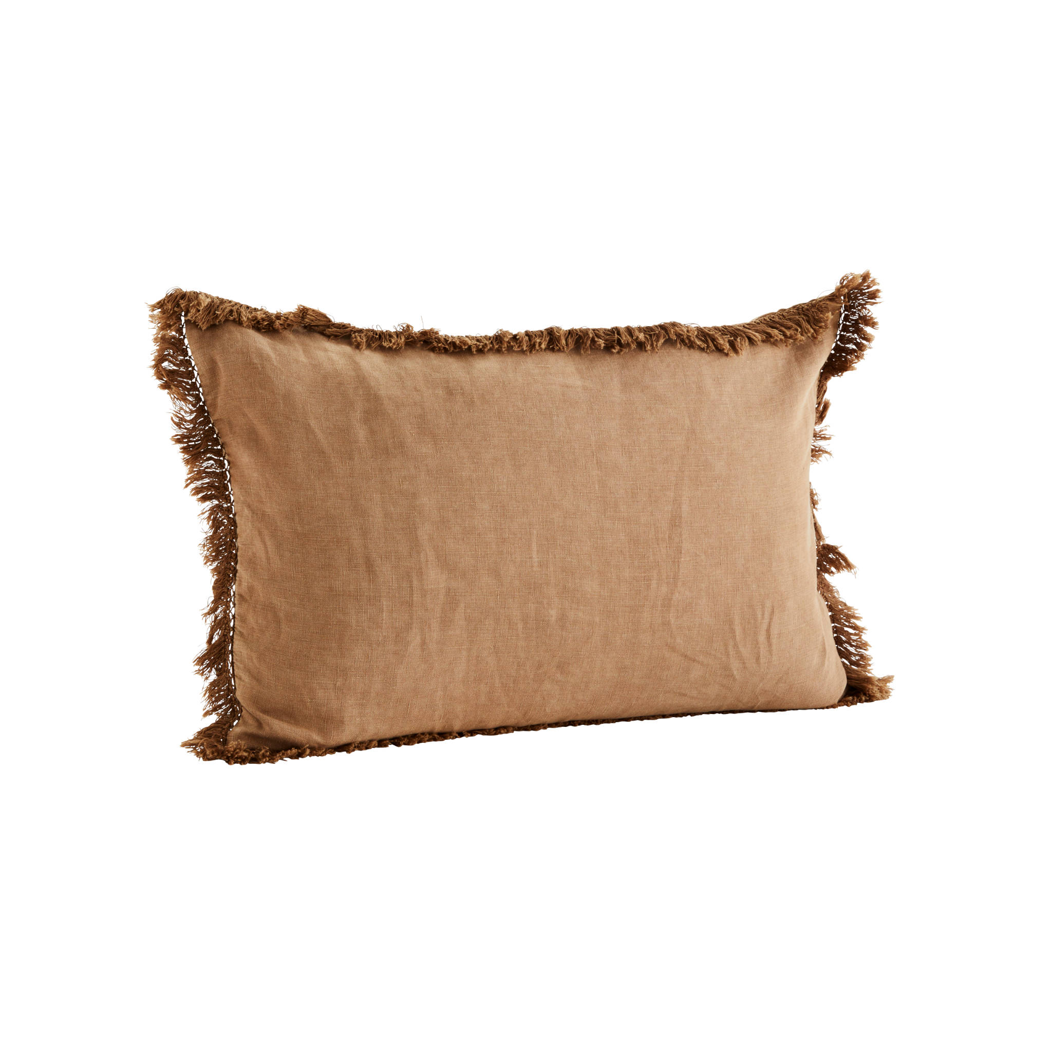 Madam Stoltz Fringe Cushion Cover- Brown Sugar