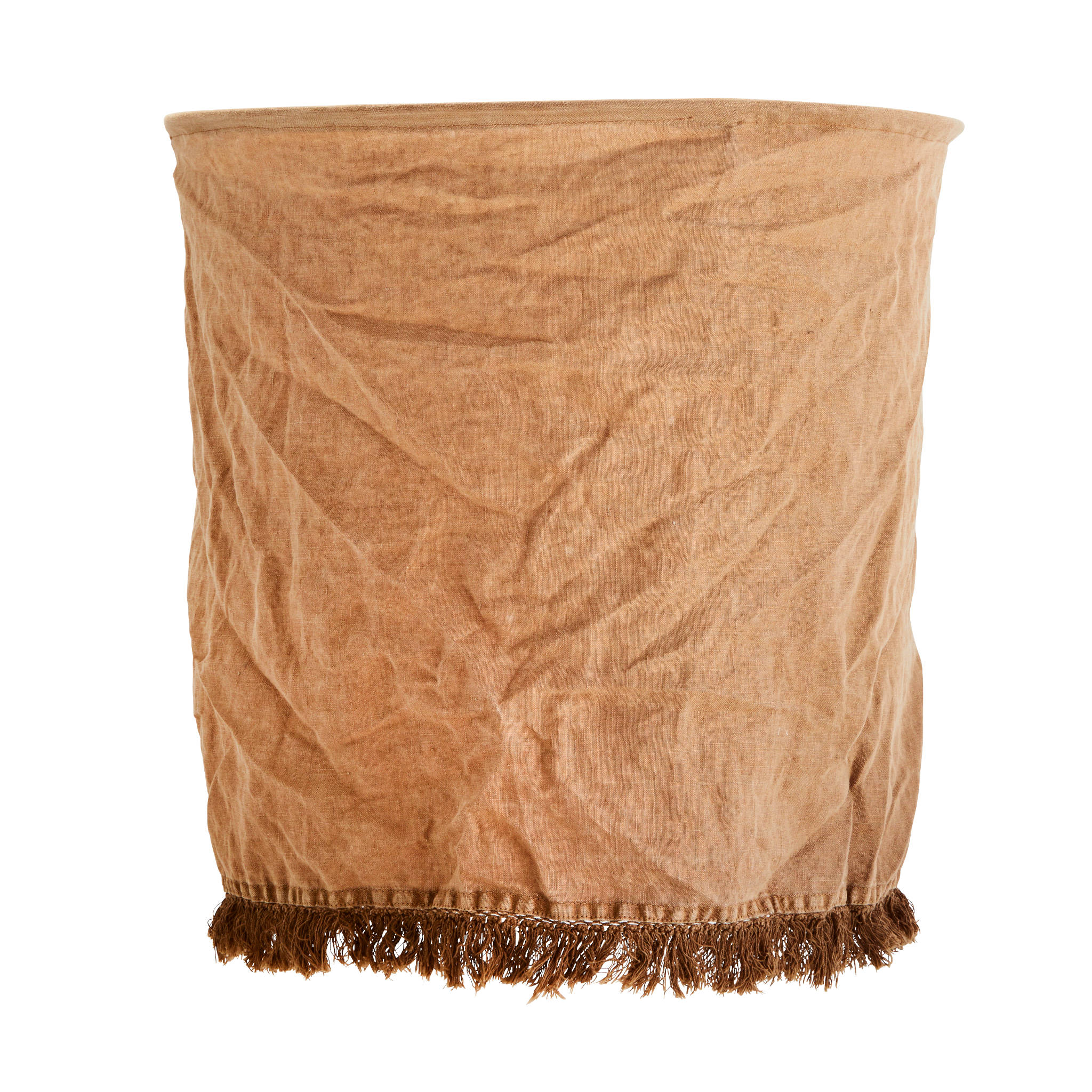 Madam Stoltz Linen Fringe Lampshade- Brown Sugar