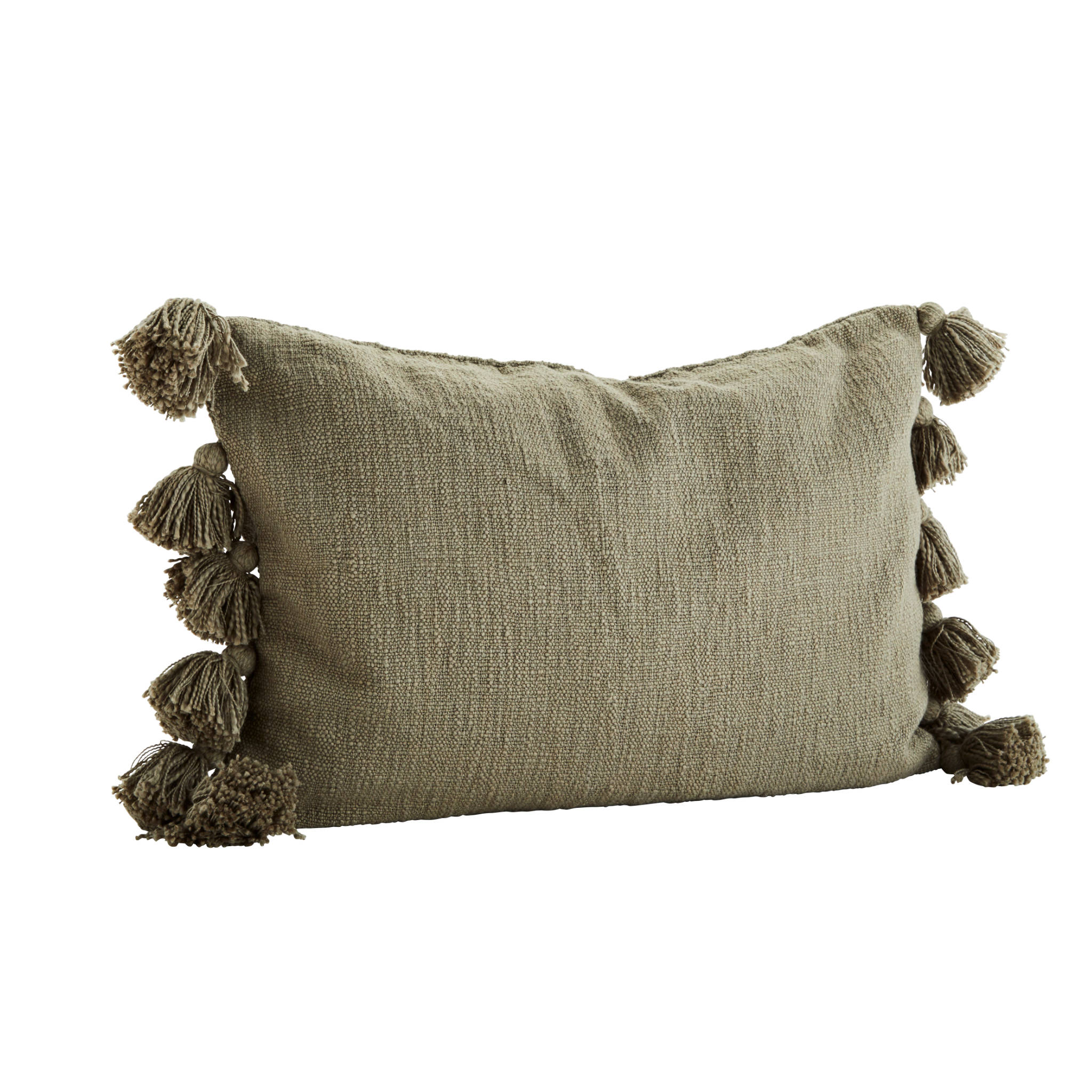 Madam Stoltz Tassle Cushion Cover- Olive
