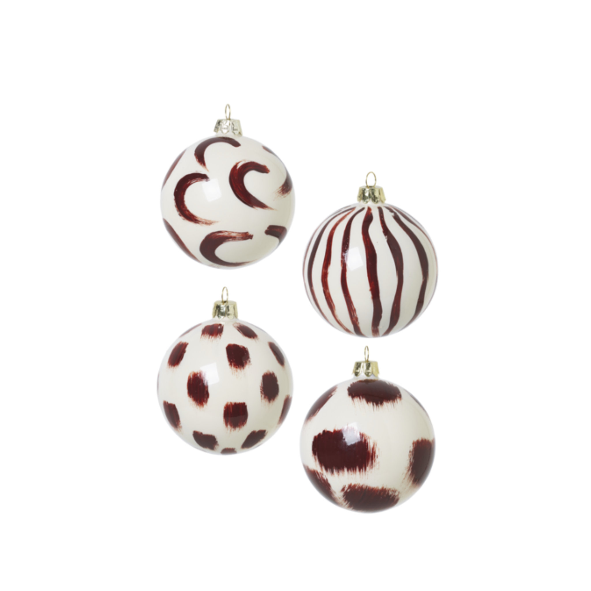 Ferm Living Christmas Hand Painted Glass Ornaments- Red Brown