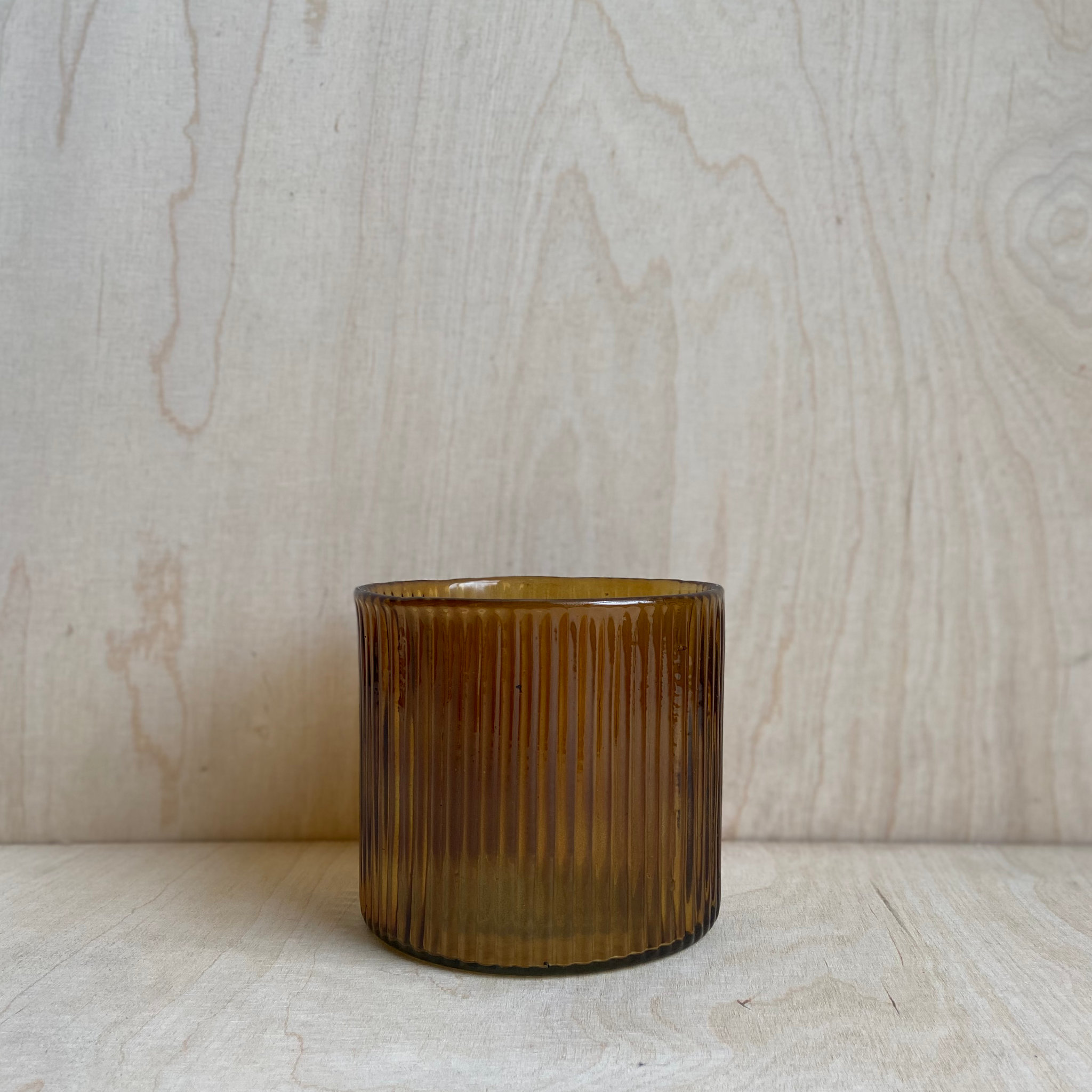 Ribbed Glass Amber Candle Holder