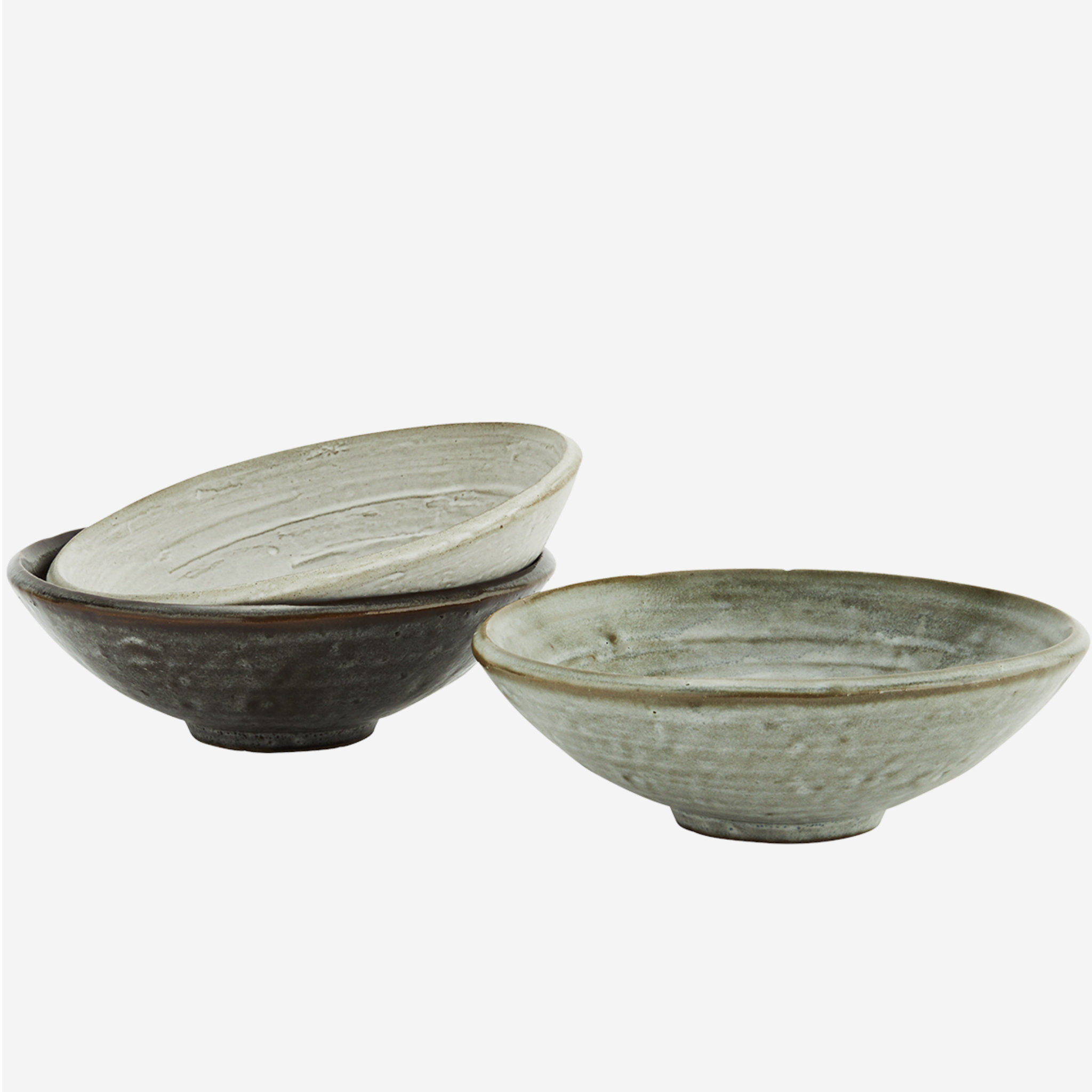 Madam Stoltz Stoneware Bowls- Set Of 3