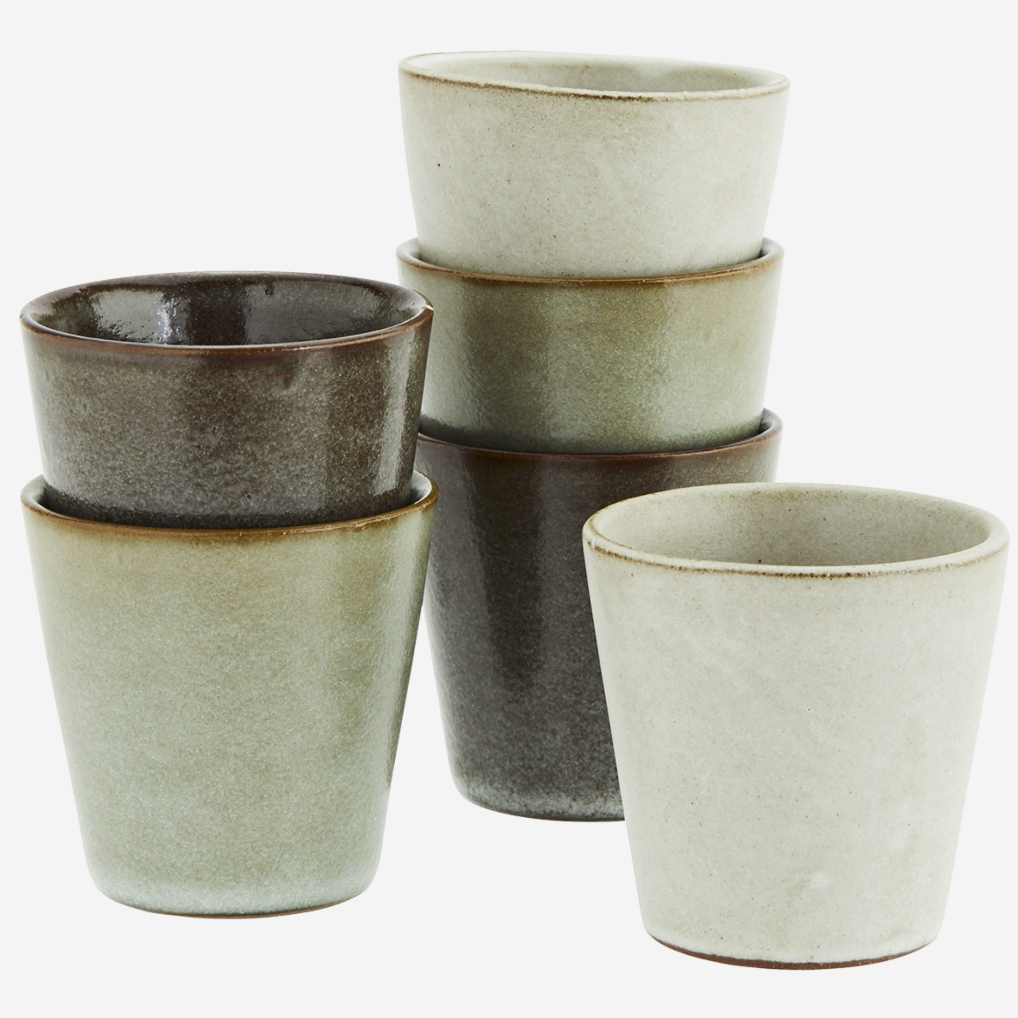 Madam Stoltz Stoneware Cups- Set Of 6
