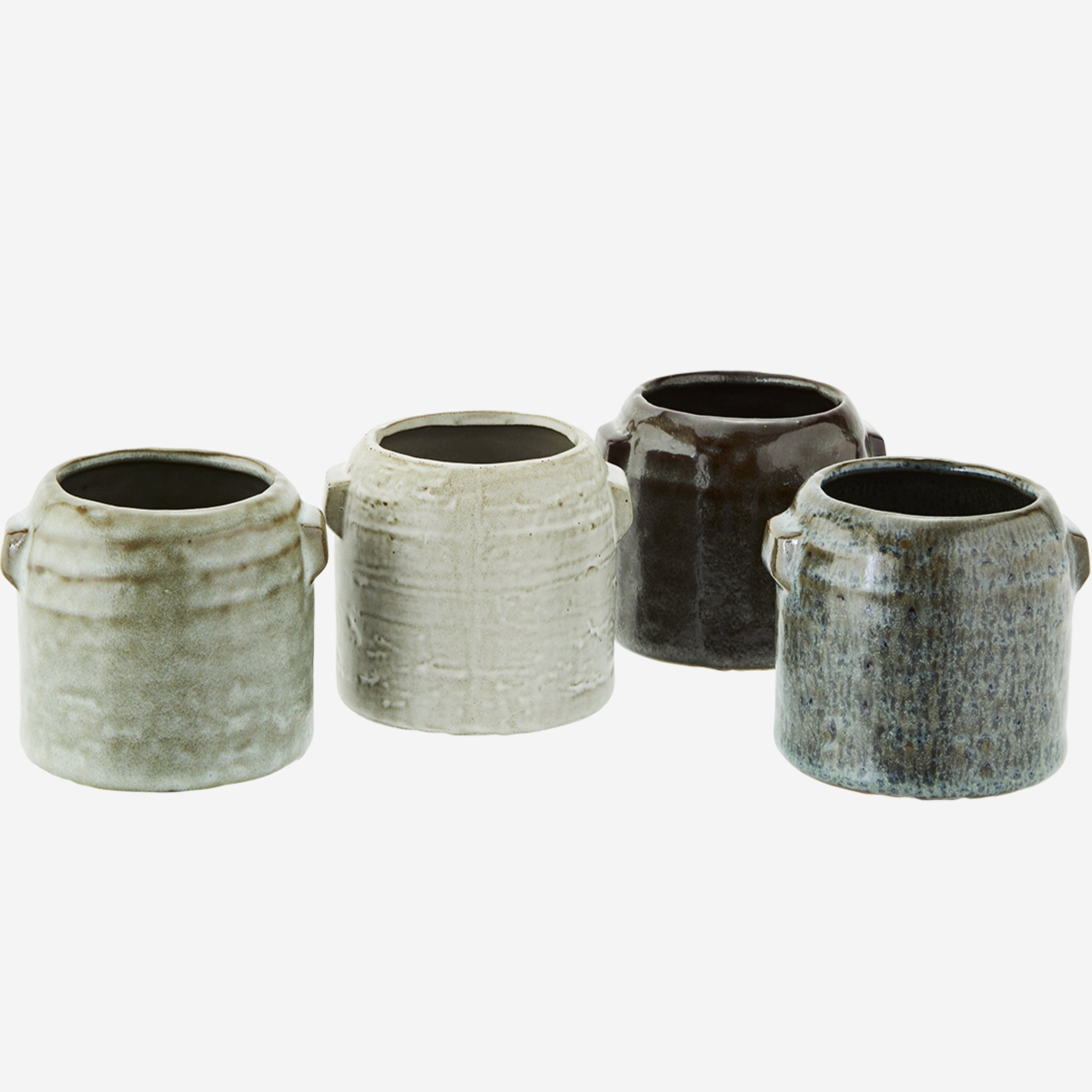 Madam Stoltz Stoneware Planters- Set Of 4