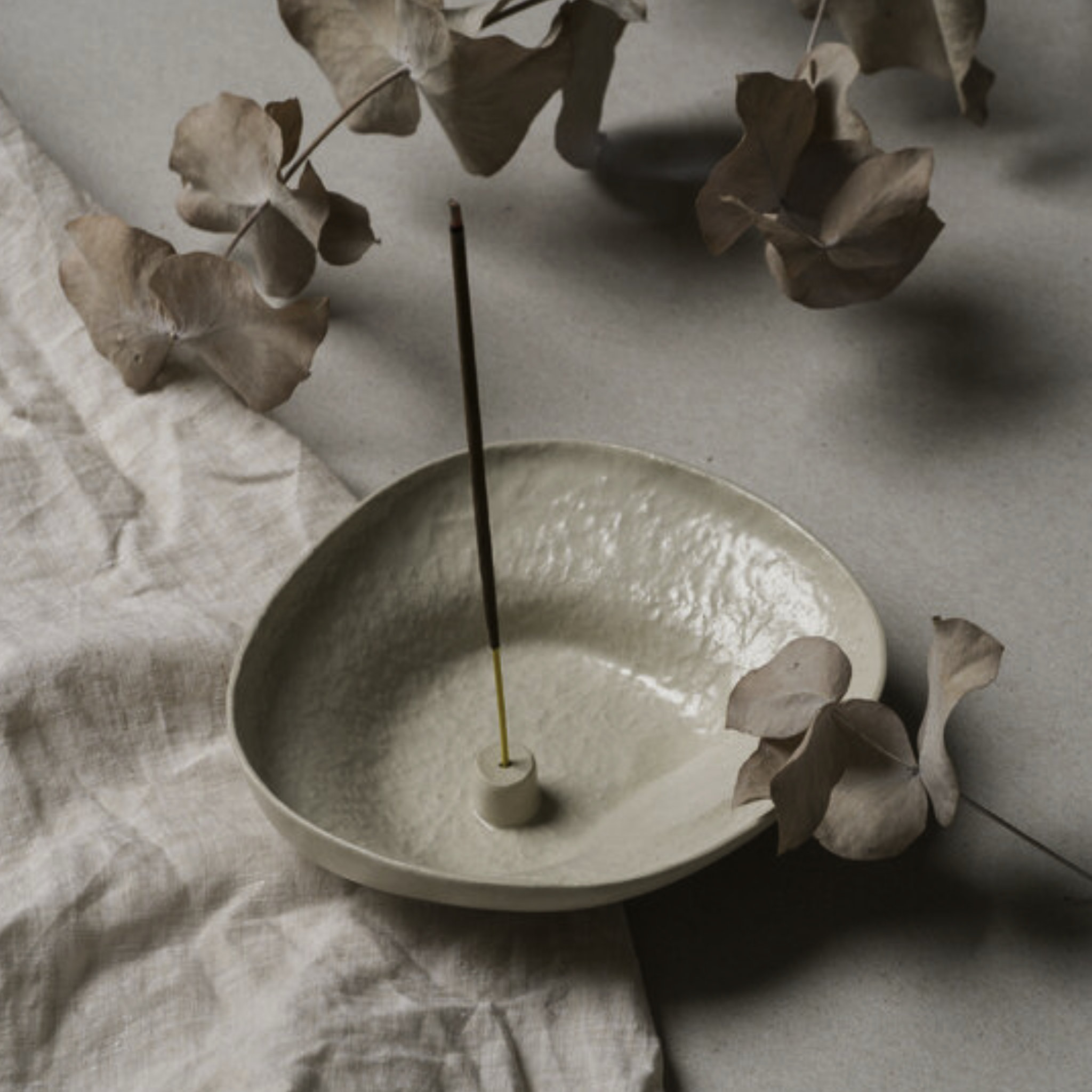 Lina Wil Stoneware Incense Holder- Almond- Large