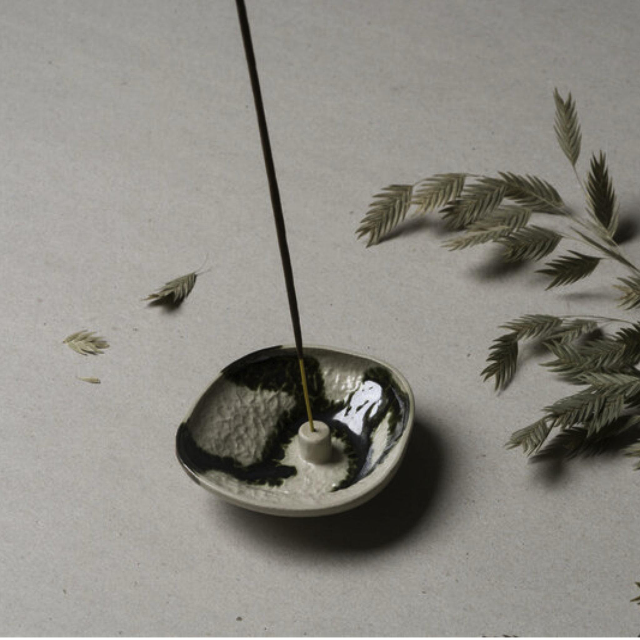 Lina Wil Stoneware Incense Holder- Lichen- Small