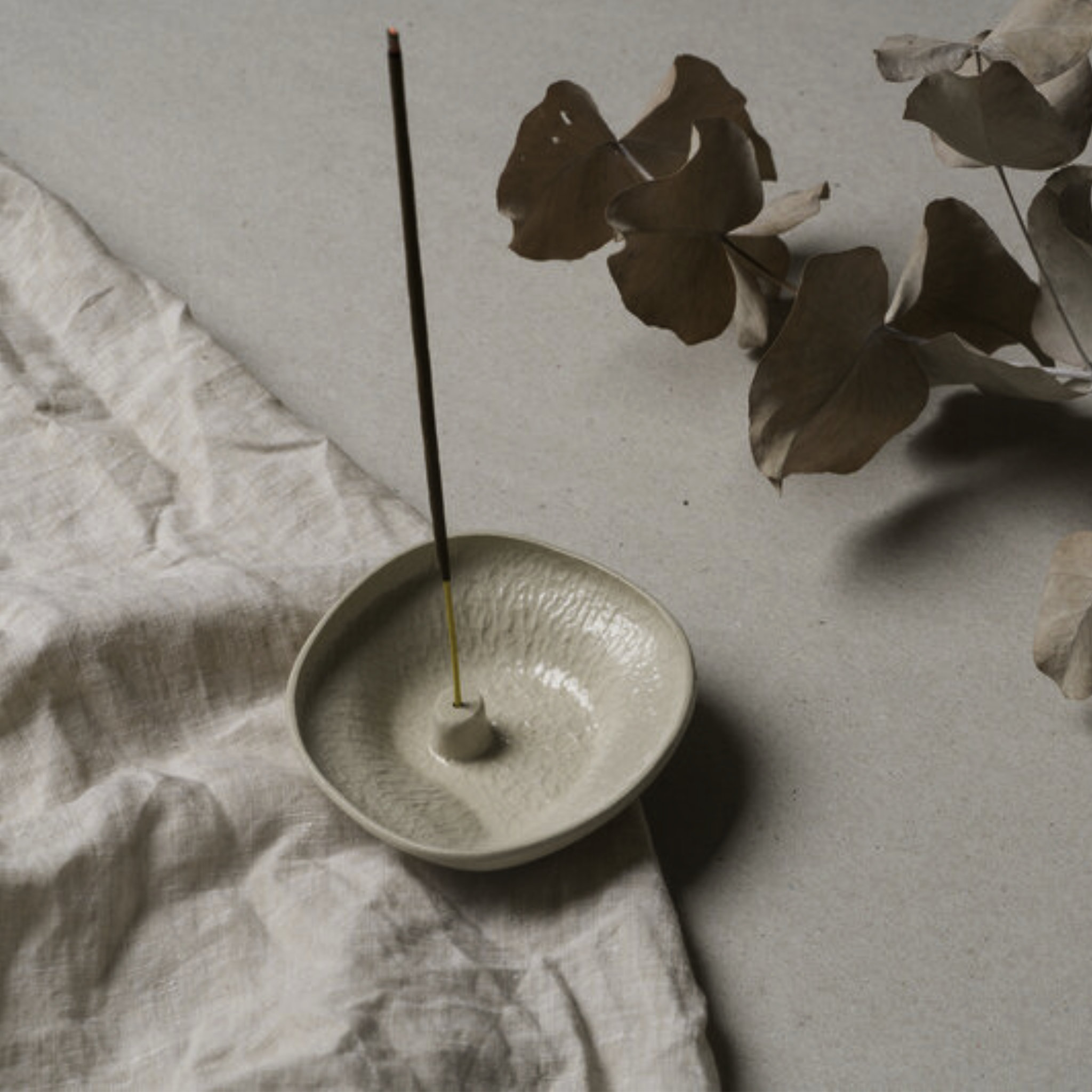 Lina Wil Stoneware Incense Holder- Almond- Small