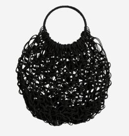 Madam Stoltz Round Jute Macrame Bag- Black